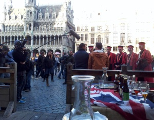 Filming Jamie & Jimmy's Food Fight Club in Brussels.