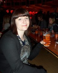 Getting into her stride - Rachel at Bournemouth with beer in hand