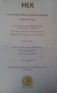 The menu for the evening at Mark's Bar at HIX