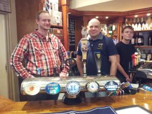 Chris and Stuart behind the bar at Teign Cellars