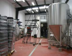 Work in progress: Brewing is already under way at the new Moor Beer site in Bristol, but it will be 2015 before the pictured steps become a canning line.