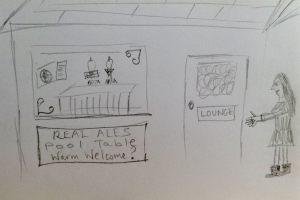 Woman walks into a pub drawing