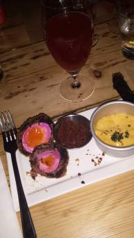 Flavour explosion: Beetroot-pickled Scotch egg paired with Blackberry Gose